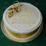 Golden Anniversary with silk gold flowers