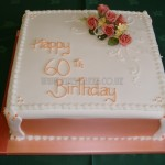 Peach 60th with silk flowers
