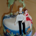 Cupcakes Top Tier Beach scene of Bride & Groom
