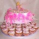 Pink Feather Birthday Cake & Cupcakes
