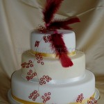 Red Feather & Bead effect 3Tier