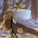 Yellow Cala Lily Embroidery effect single Tier