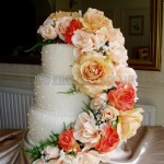 Peach Silk Flowers 3 Tier