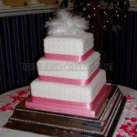 Pink & White Feather Polka Dot 3Tier