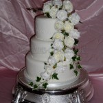 White Silk Flowers 3Tier