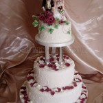 Burgandy Rose & Petals 3Tier
