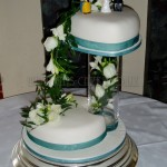 Teal & White Fresh Flowers Heart 2Tier