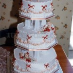 Peach Rose & Frill Hexagon 3Tier